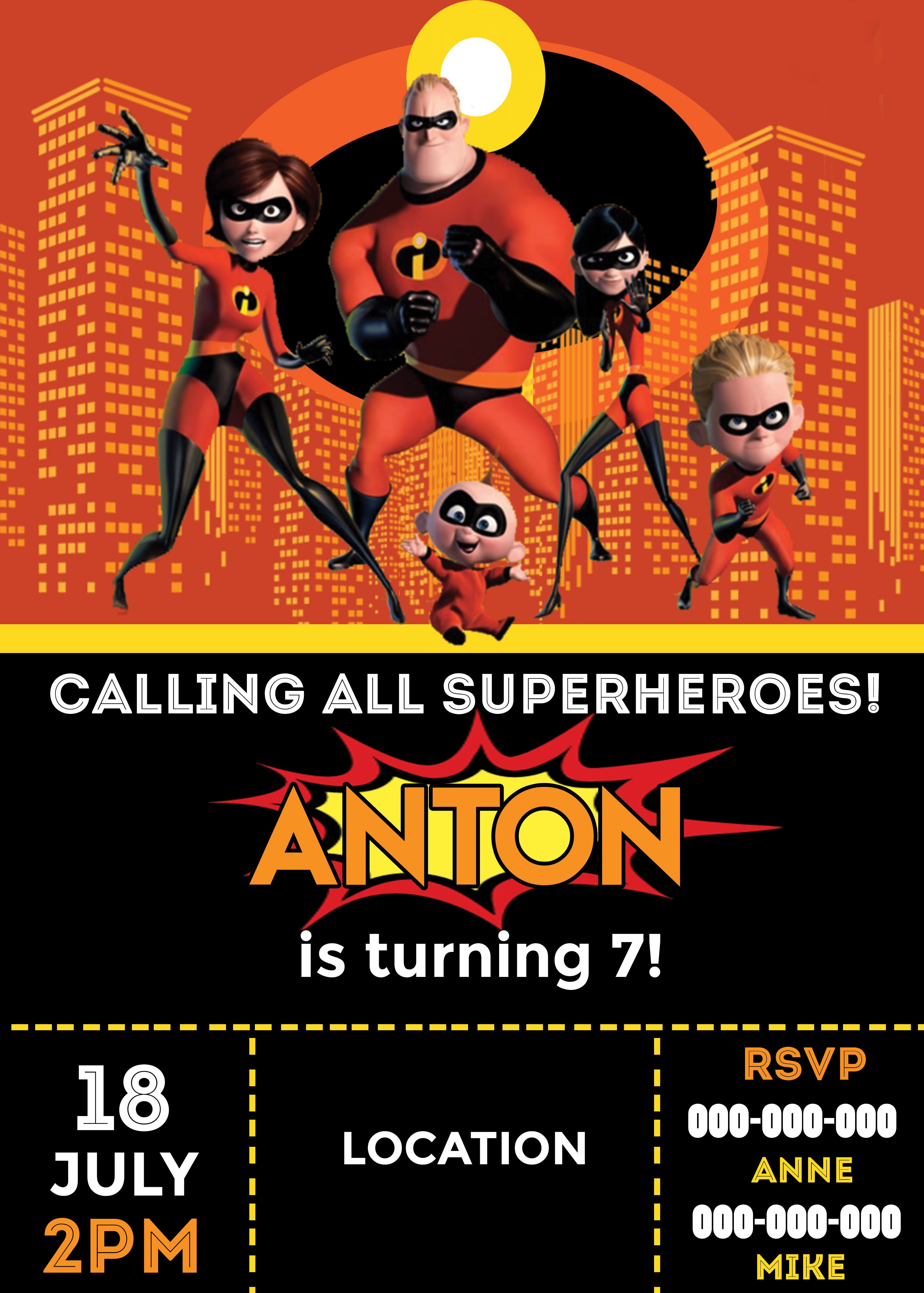 Incredibles 3. Incredibles Party Invitation. Incredibles Party