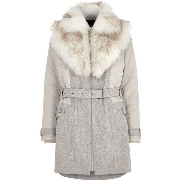 9ea25cc0ac9f River Island Grey padded wool belted faux fur collar coat ( 180) ❤ liked on  Polyvore featuring outerwear