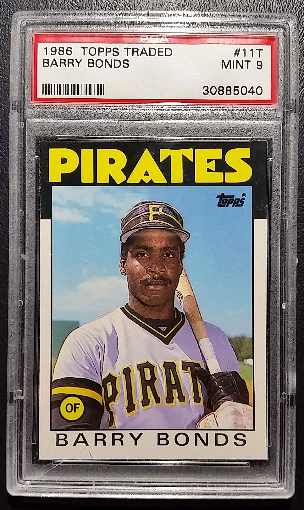 1986 Topps Traded Baseball Barry Bonds Rookie Card graded Mint 9 by PSA