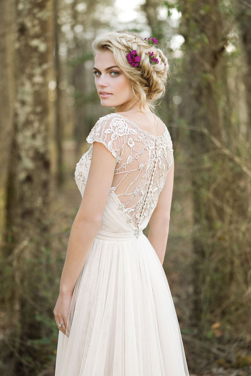 Wedding dress beaded back  Lillian West  Style  Draped ALine Gown with Illusion Beaded