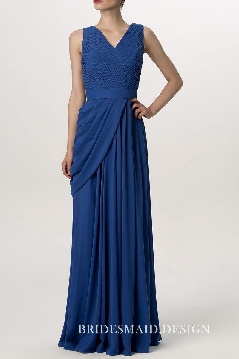 Pleated u draped cobalt blue chiffon sleeveless vneck formal long
