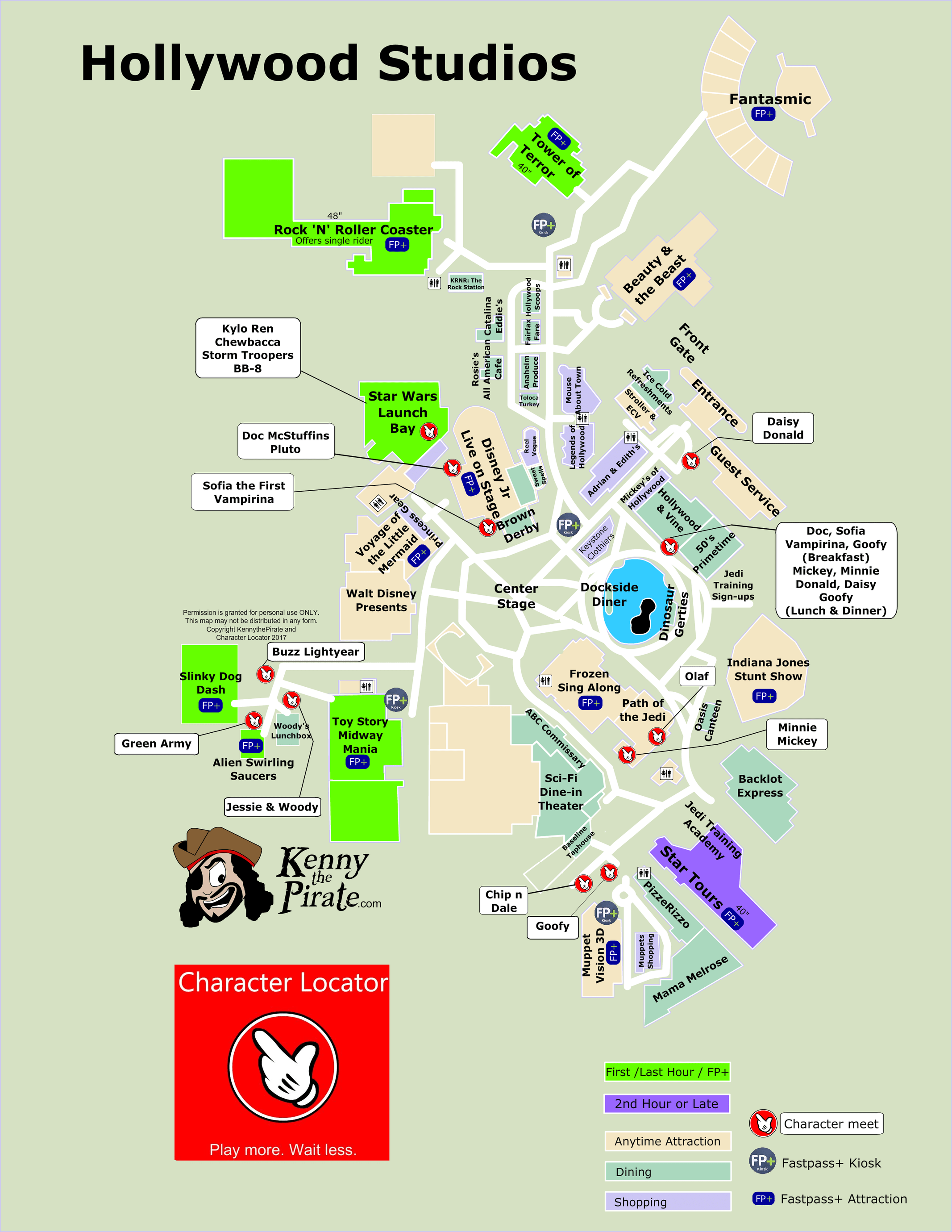 Disney Florida Map.Hollywood Studios Map Including Fastpass Plus Locations Rides
