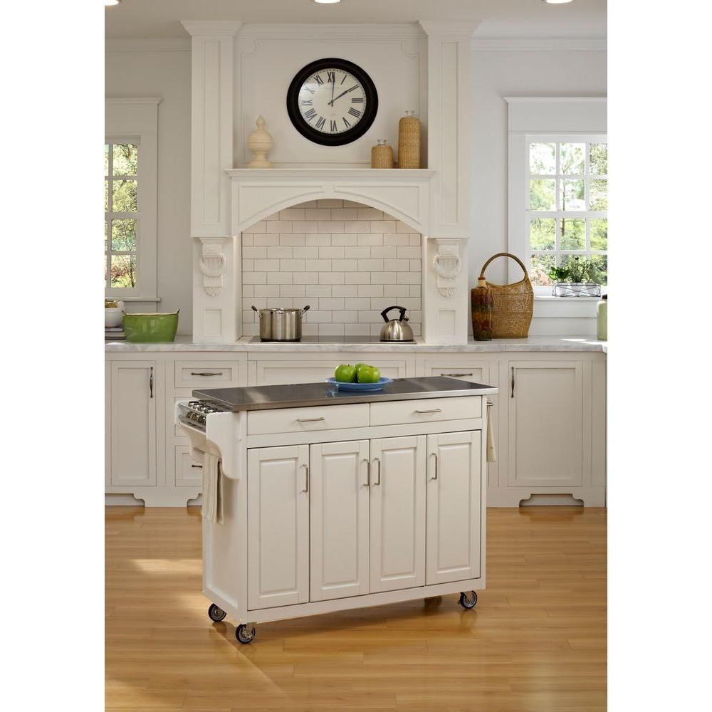 Home Styles Create-a-Cart White Kitchen Cart With Stainless ...