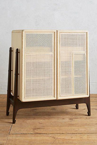 Patchwork Cane Bar Cabinet wood Furniture, Cabinet furniture, Cane furniture
