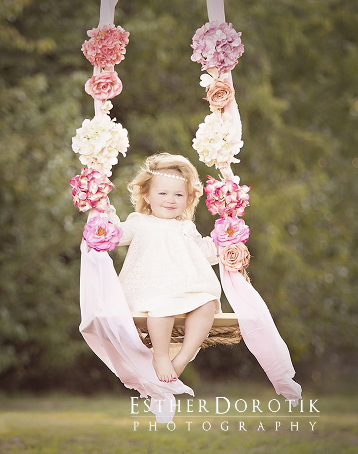Baby photography styled photo session 2 year old photography girl sitting on swing outdoor child photography outside baby photography baby girl