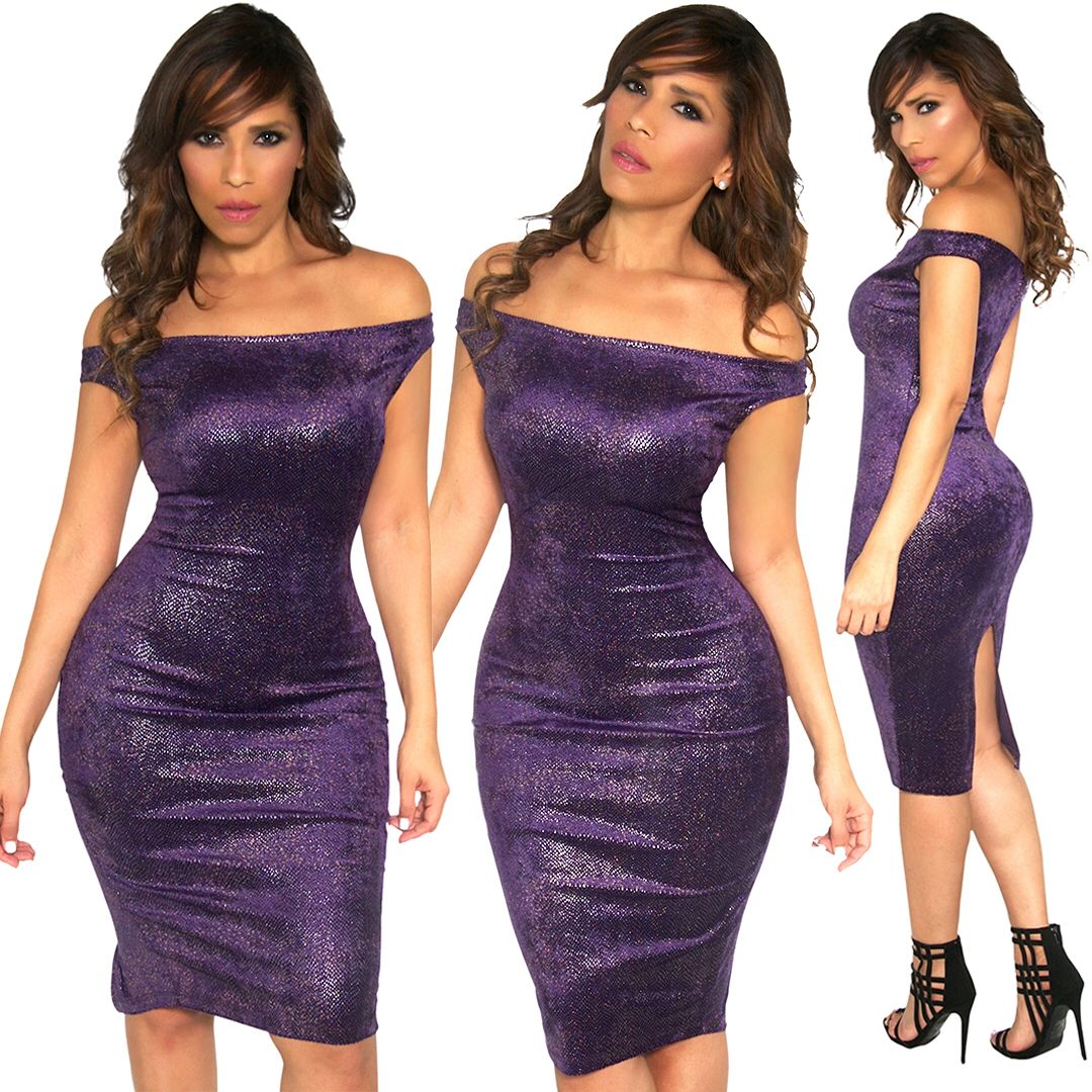 Extra body hugging show off those curves on this stunning purple