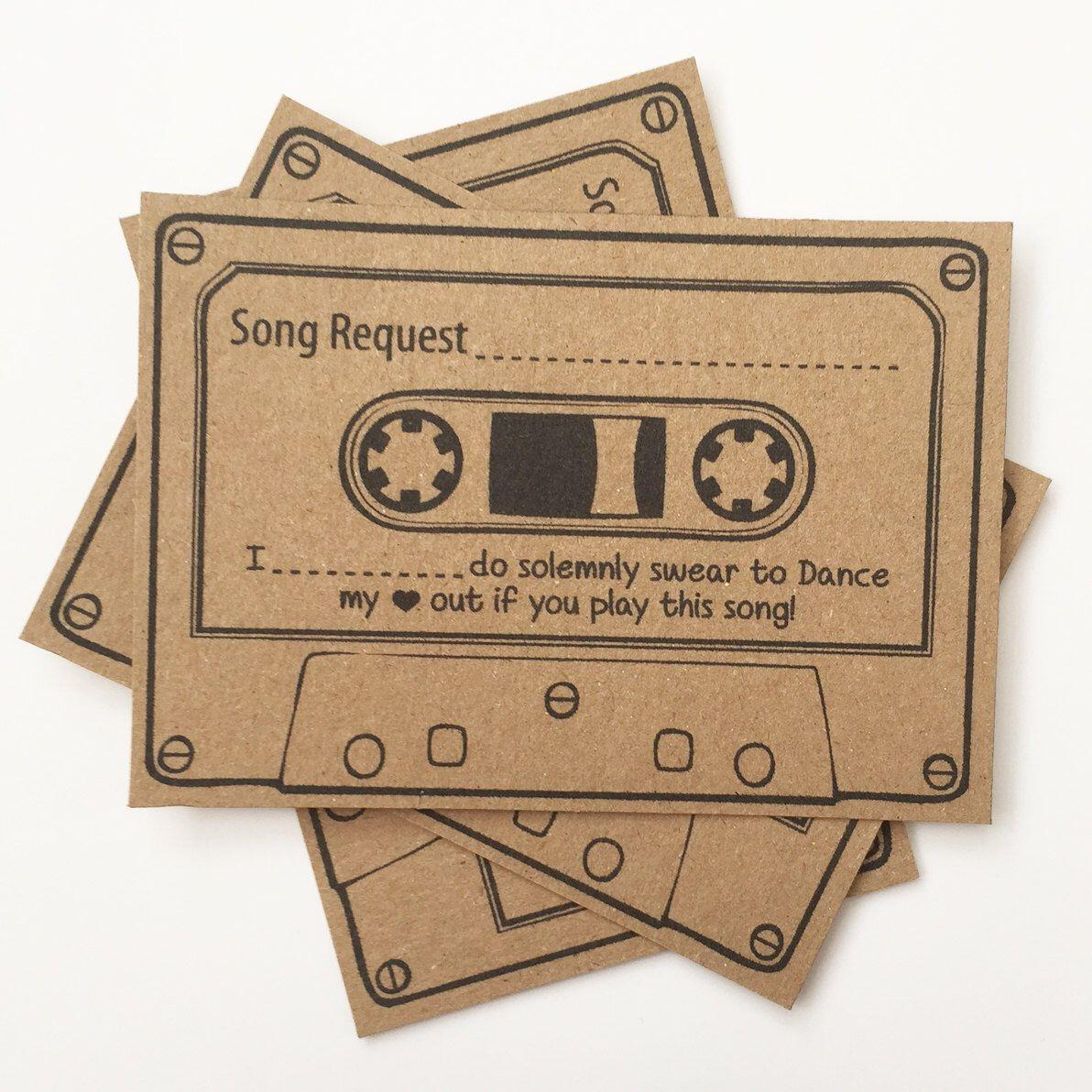Wedding Song Playlist Ideas: Wedding Song Request Cards Brown Kraft Vintage Retro Games