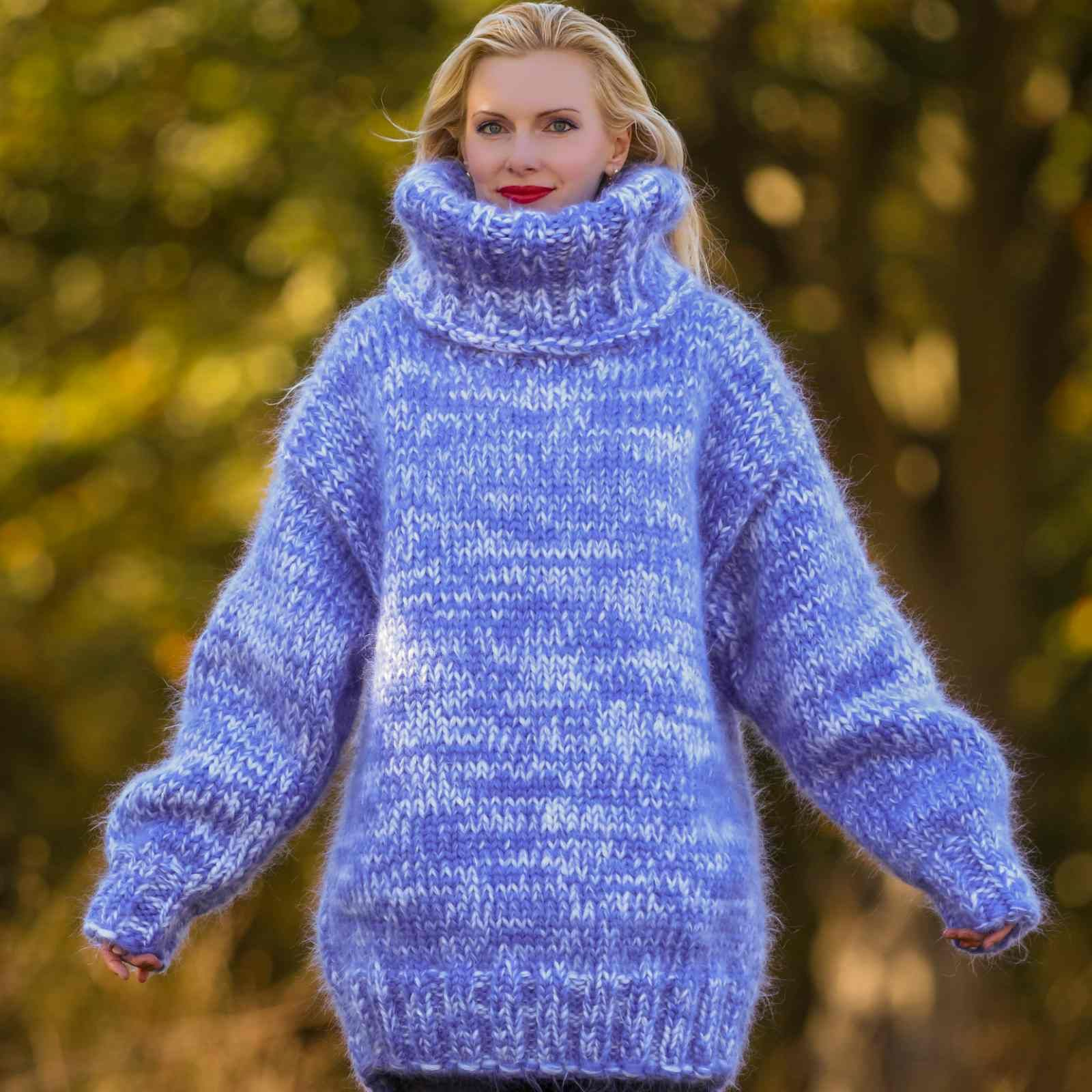 Big And Heavy Hand Knitted Sweater In Blue And White Size S M L