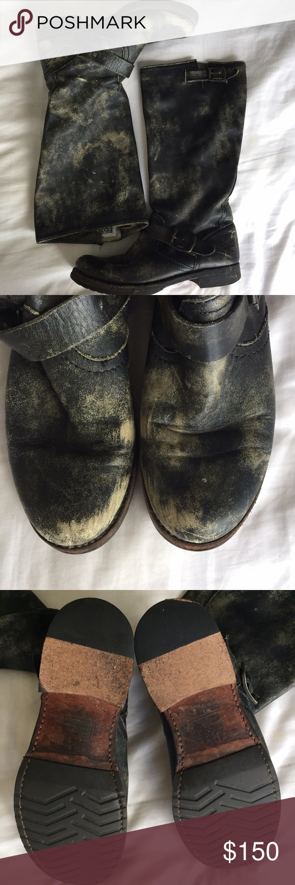FRYE VERONICA SLOUCH Distressed Leather