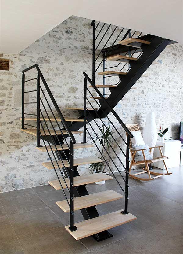 Escalier 2 4 Tournant Metal Et Bois Clair Escaliers Modernes