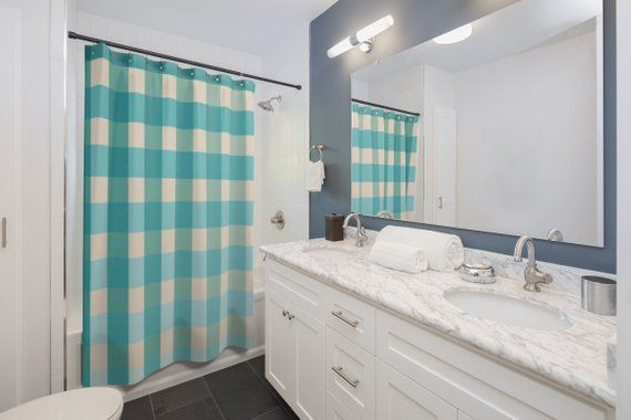 Shower Curtain Gingham Checkers Blue Grid Bathroom Decor Designer Decorative, 71 in x 74 in ,70 in x #mermaidbathroomdecor