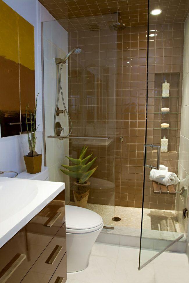 kleine badezimmer modern idee braun beige weiss hochglanz