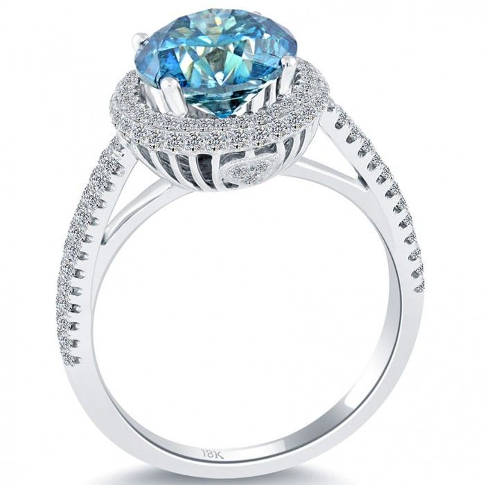 3.03 Carat Fancy Blue Diamond Engagement Ring 18k White Gold Pave Halo - Thumbnail 2