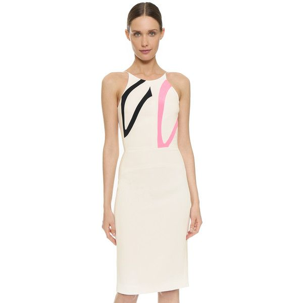 Narciso Rodriguez Inset Cocktail Dress ($2,310) ❤ liked on Polyvore featuring dresses, white, narciso rodriguez dresses, back zipper dress, white halter top, halter top and sheath dress