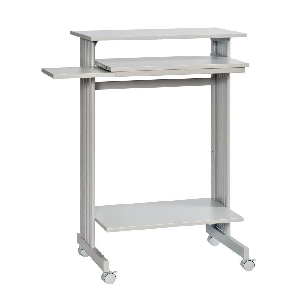 Change The Look To Your Home With This Durable Buddy Products Grey Beveled Edge Stand Up Computer Desk In