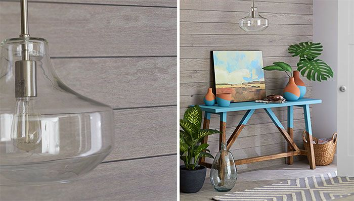 Shiplap Walls In An Entry With A Valspar Chalky Paint
