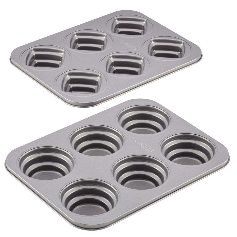 Specialty Nonstick Bakeware 2-Piece Round and Square Molded Cookie Pan Set in Gray