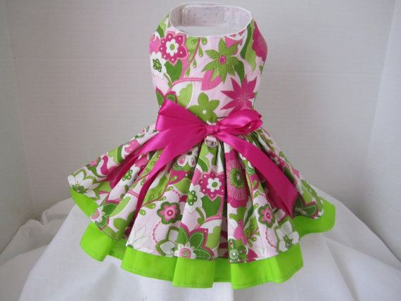 Dog Dress XS Pink and Green Flowers By Ninas Couture Closet Exclusive Line Classic and Comfortable via Etsy