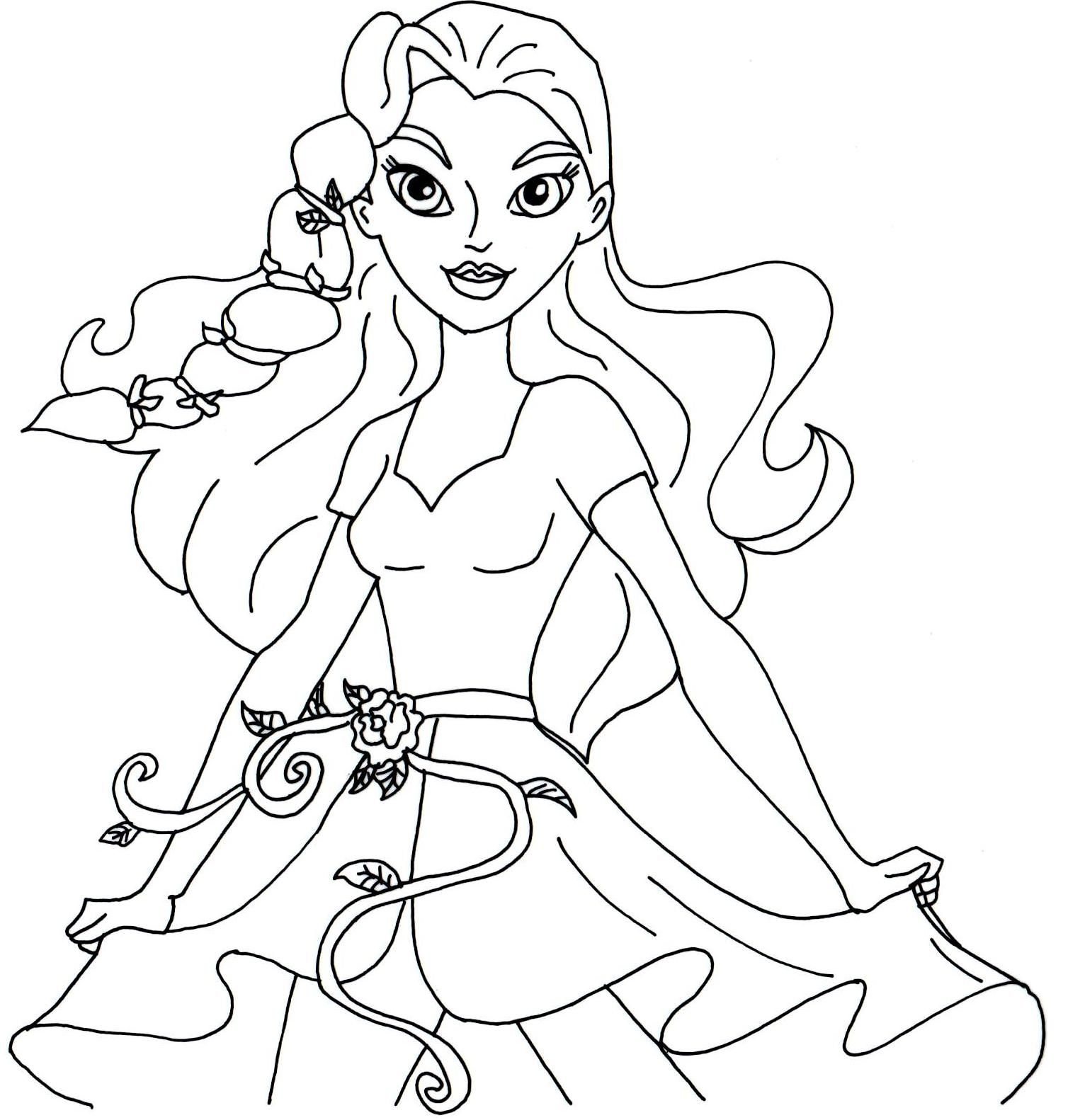 Free printable super hero high coloring page for Poison Ivy I love ...