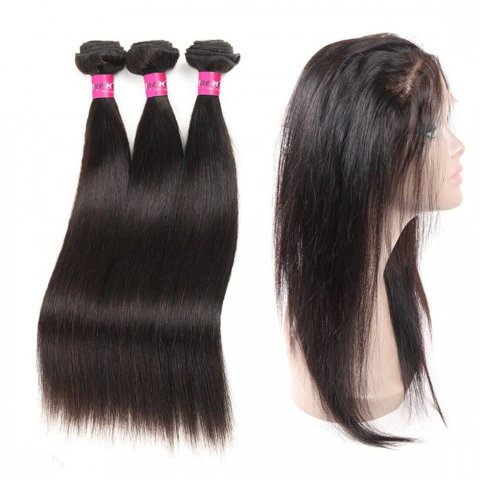 360 Lace Frontal With 3 Bundles Brazilian Straight Hair Lace