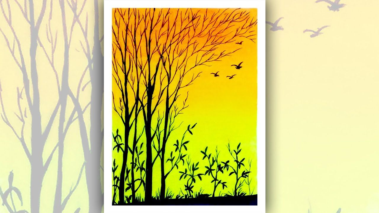 Easy Sunset scenery drawing for beginners with oil pastels ...