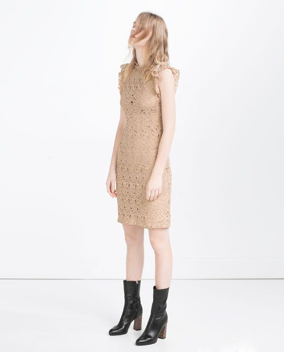 1b20d0a77677c Image 1 of TUBE DRESS WITH GUIPURE LACE FRILL from Zara | Wish list ...