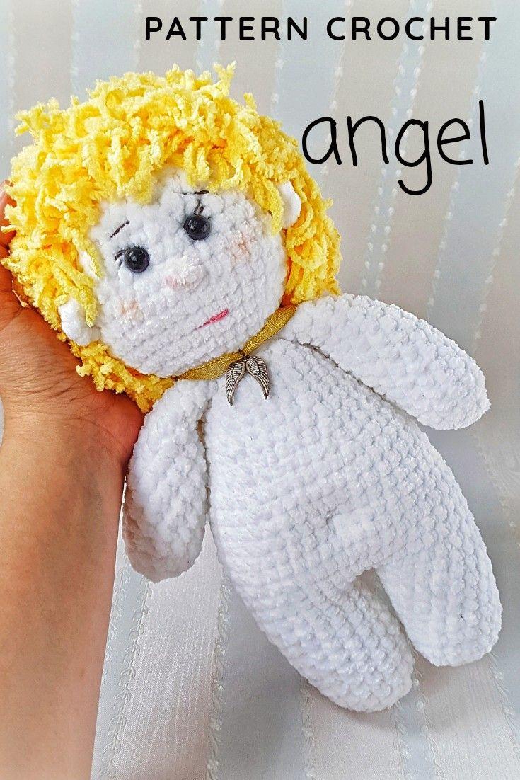 white Angel pattern PDF guardian angel pdf crochet toy pattern doll pattern crochet angel toy stuffe