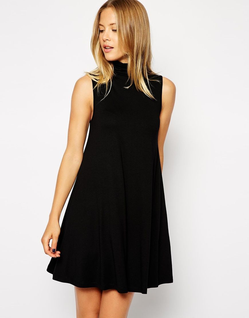 46dc7d531dad Image 1 of ASOS Sleeveless Swing Dress with Polo Neck | c o v e t ...