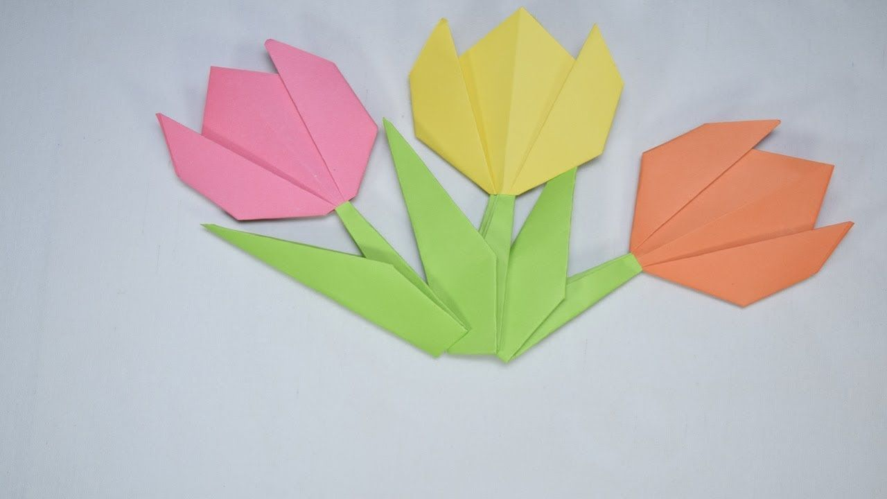 Origami tulip flower paper craft origami pinterest tulips origami tulip flower paper craft jeuxipadfo Image collections