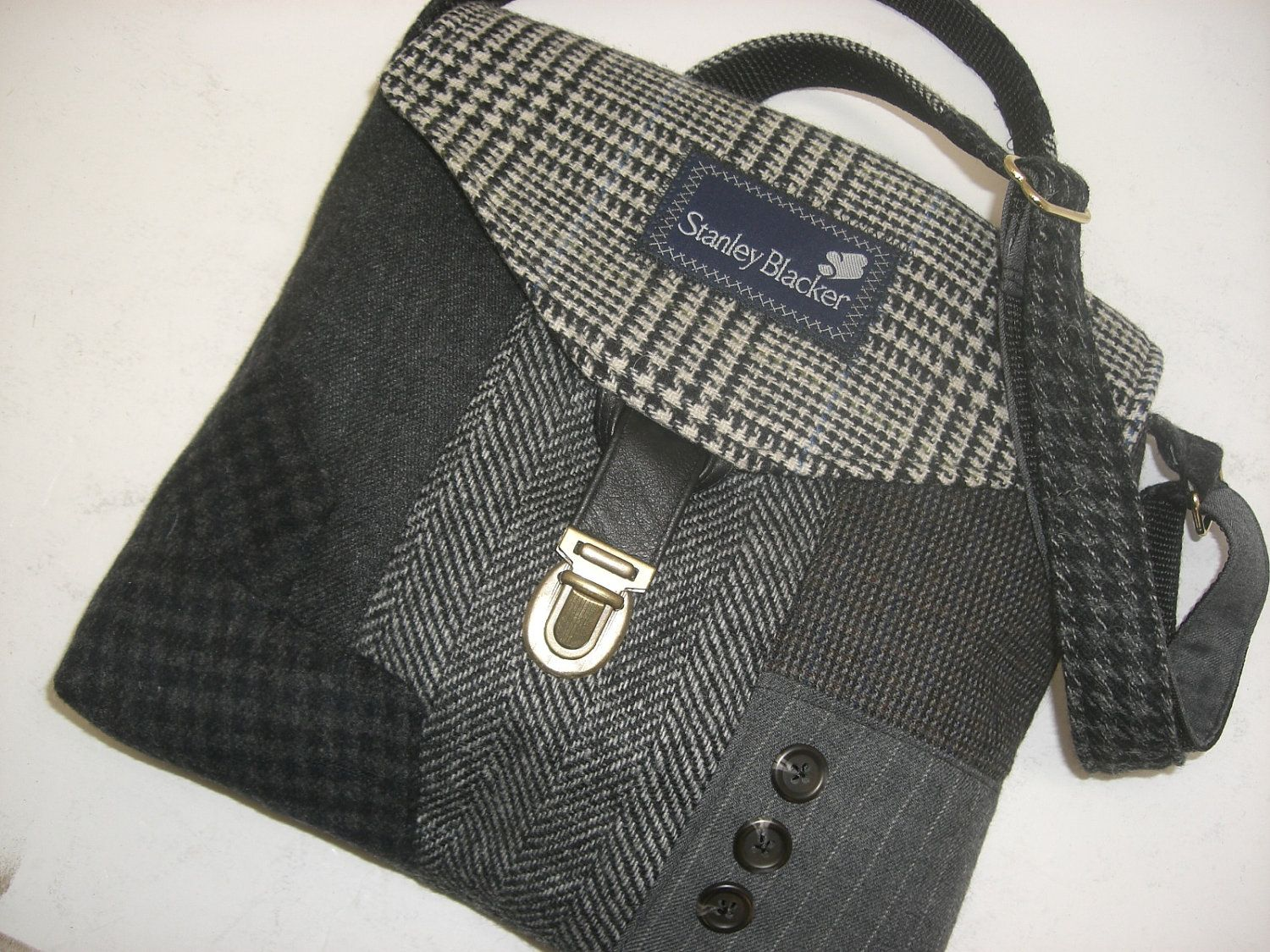 Recycled rice bag purse - Crossbody Purse Recycled Purse Black Grey Men S Suit Coat Purse Crossbody Strap Purse Recycled Suit Coat Ready To Ship