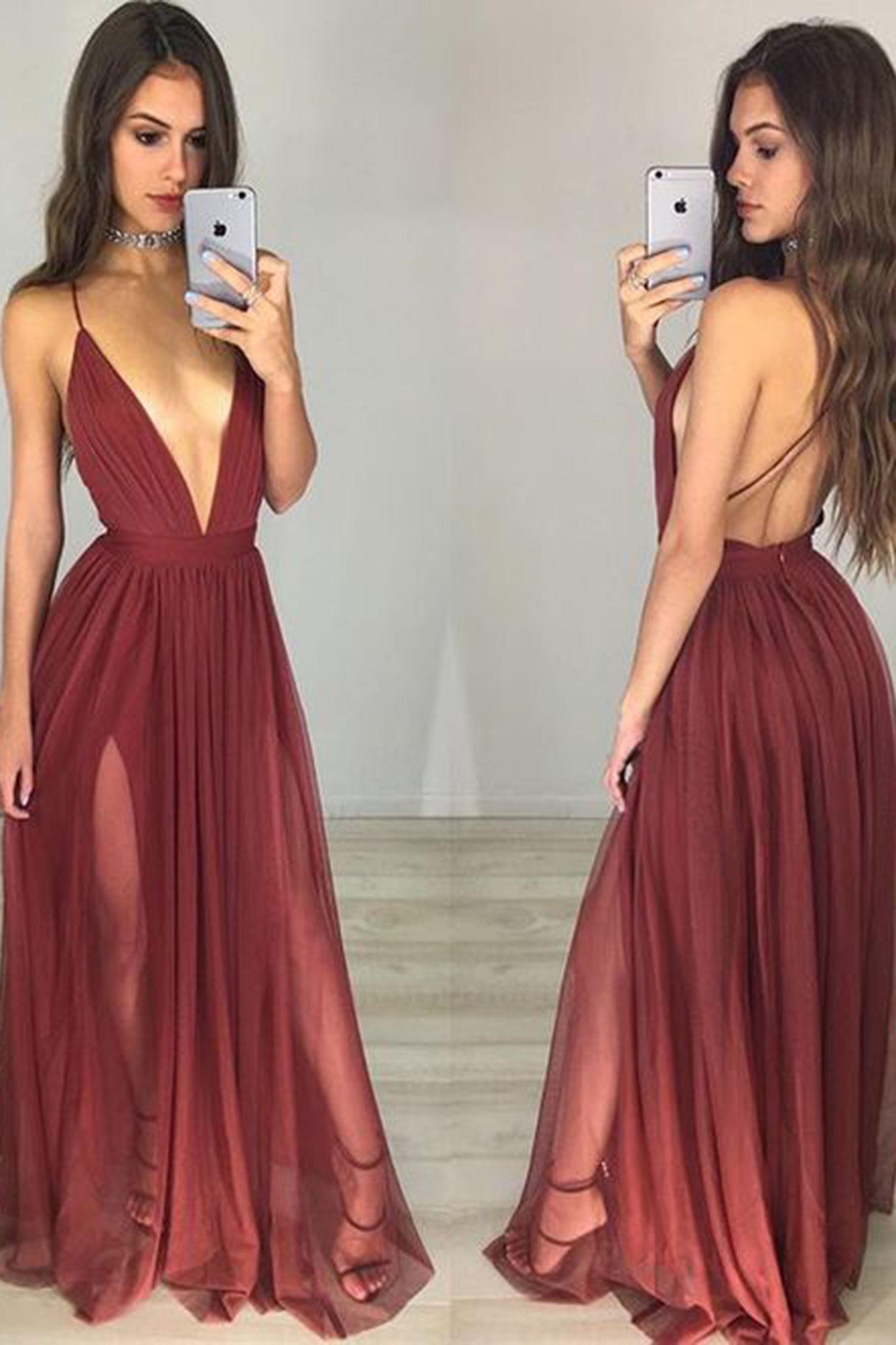 Wine tulle sexy deep V-neck A-line simple long evening dress with ...