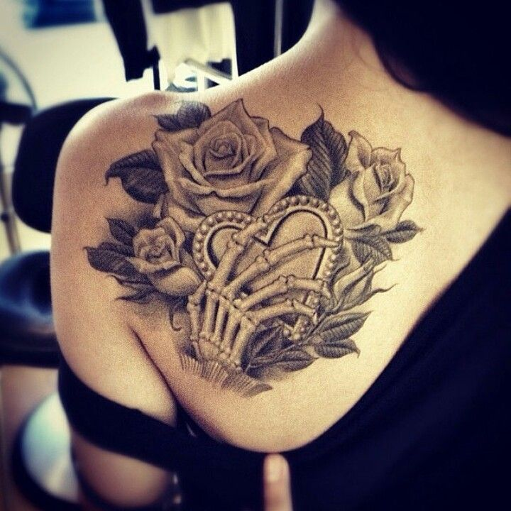 Skull hand heart Rose tattoo