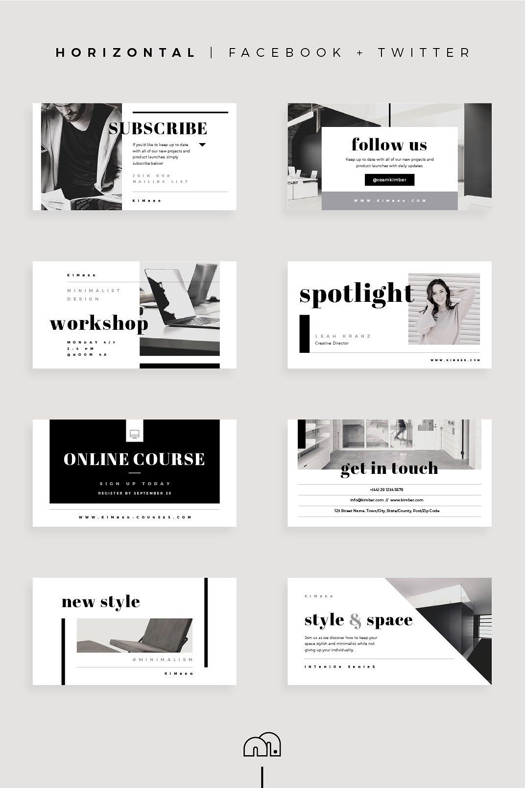 A professional presentation is only a few clicks away with the 'Kimber' social media pack. Available in three popular formats (square, horizontal & vertical) for the major social networks. These designs are built with modern, fashionable industries in mind, but can be fully customised to suit any brand.