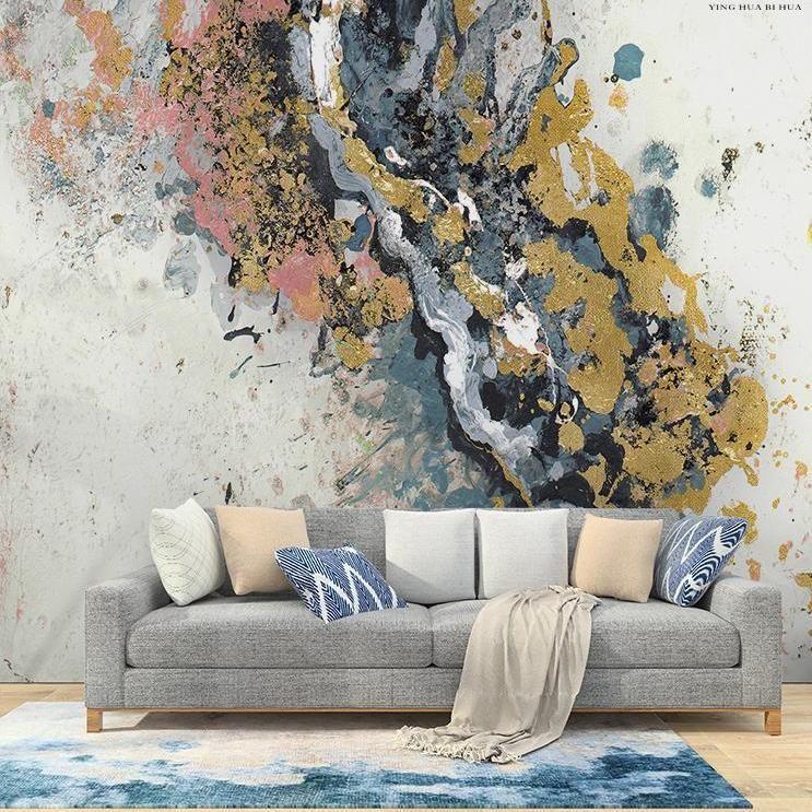 Custom Size Wallpaper Handpainted Graffiti Effect Mural