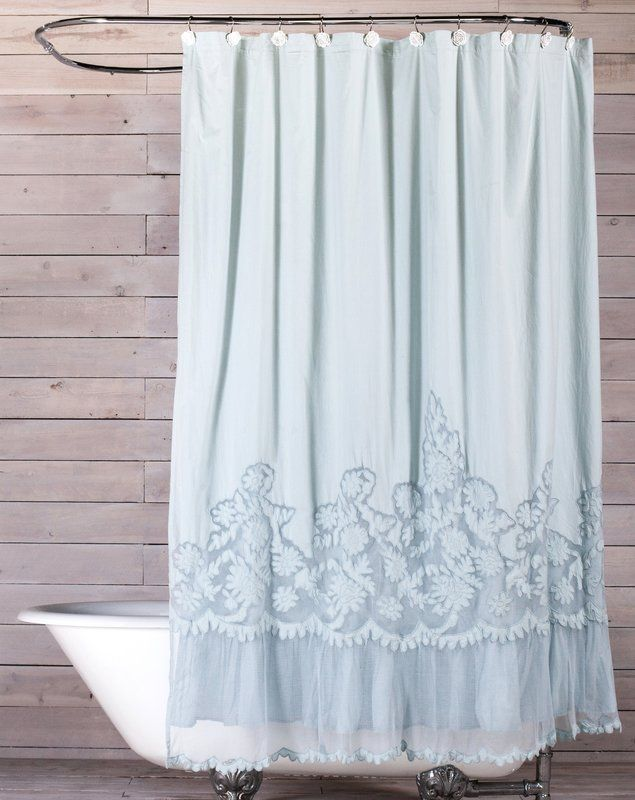 Caprice Cotton Single Shower Curtain Shabby Chic Shower Curtain