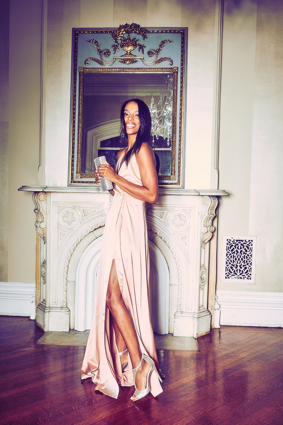 Looking For A Party Dress This Long Slinky Rose Gold With Sultry Is Perfect Festive Night Out Holiday Dresses At David S