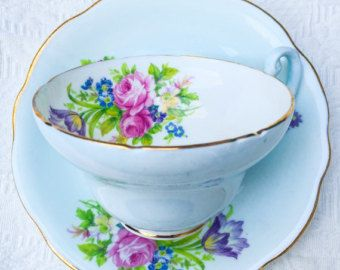 Blissful Baby Blue Floral EB Foley 1930's Teacup and Saucer - Edit Listing - Etsy
