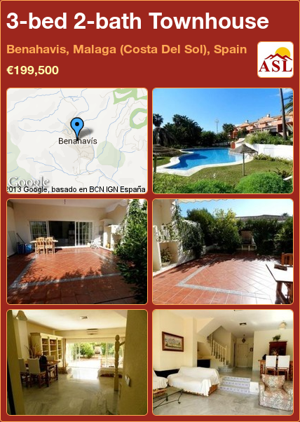 3-bed 2-bath Townhouse in Benahavis, Malaga (Costa Del Sol), Spain ►€199,500 #PropertyForSaleInSpain
