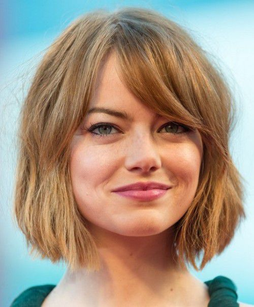 2017 emma stone short messy wavy layered bob haircuts
