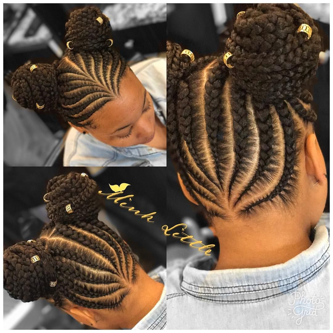 Feed Ins With Two Buns Click Link In Bio To Book An Appointment Select Book Online Tab Protectivestyles Natural Hair Styles Braids For Kids Kids Hairstyles