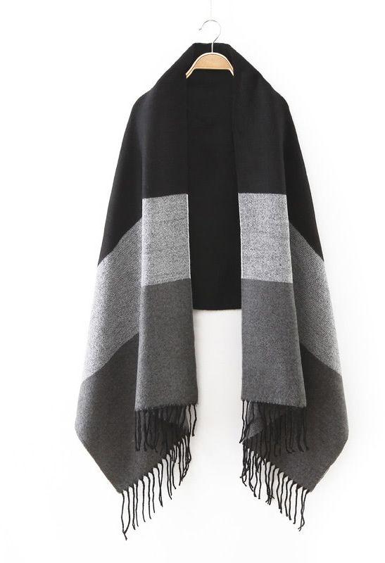 Shein Black Tone Patchwork Fringe Edge Scarf Sweat Shirt, Romwe, Patchwork  Designs, Plaid 498f14a1b29