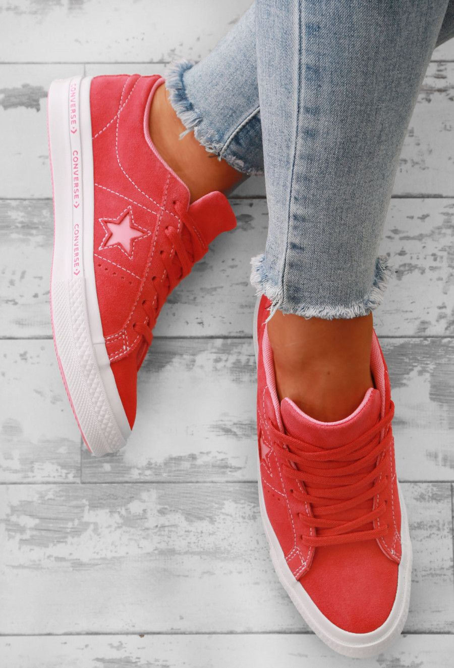 Converse One Star Coral Suede Trainers  824bfe64b
