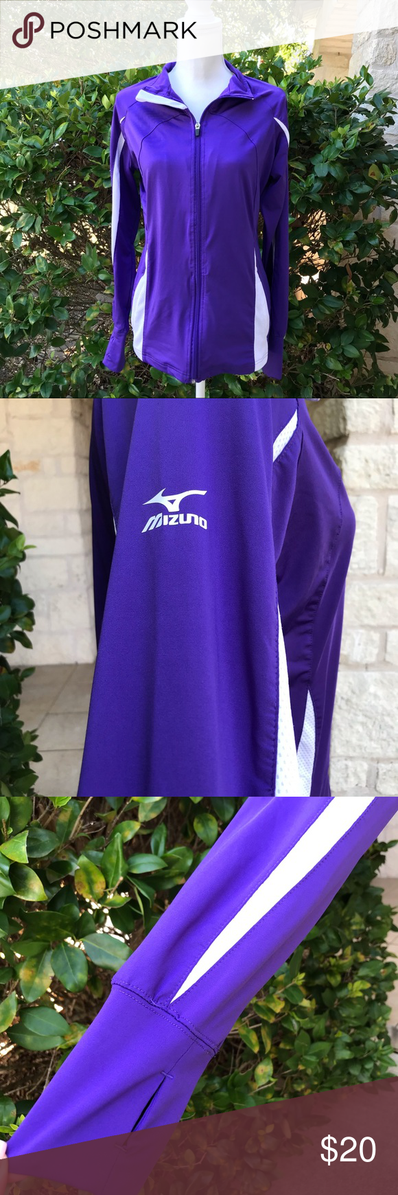 Mizuno Elite 9 Focus Full Zip Volleyball Jacket Mizuno Performance Workout Jacket Purple White Size M Pet Free And Smoke Free Home Offers And Bundles Are W
