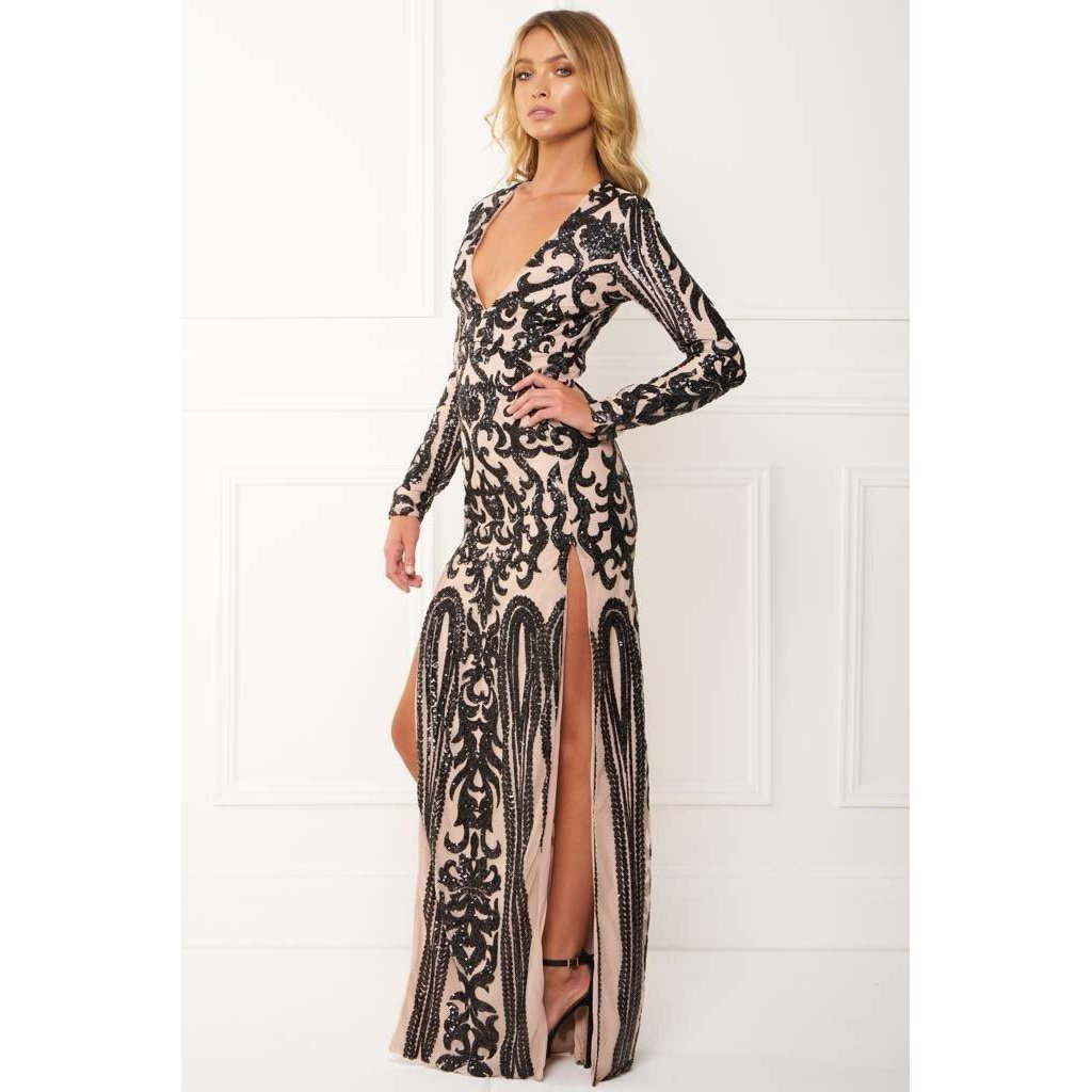 Skylar Black Long Sleeve Sequin Gown | Products | Pinterest ...