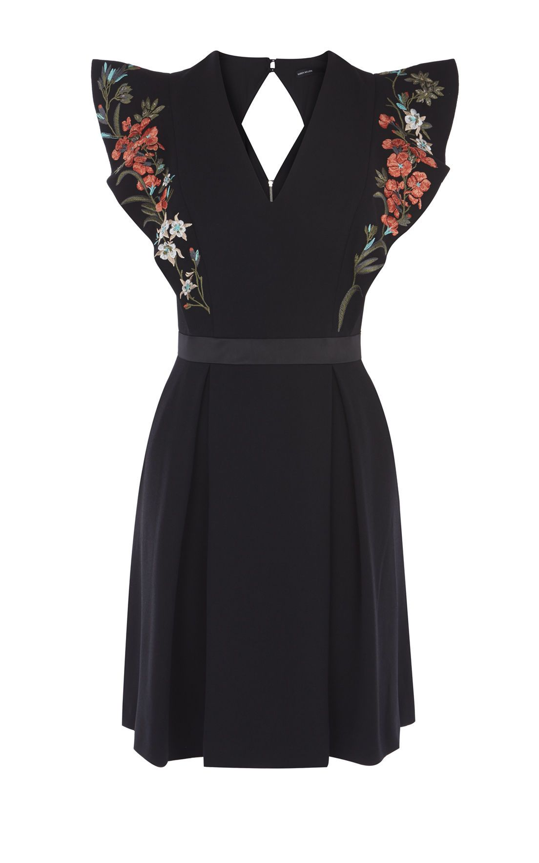 This Pretty Black Dress Is Embroidered With Colourful Flowers Designed At Our In House Atelier A Diamond C Embroidered Dress Boho Dresses Pretty Black Dresses [ 1767 x 1104 Pixel ]