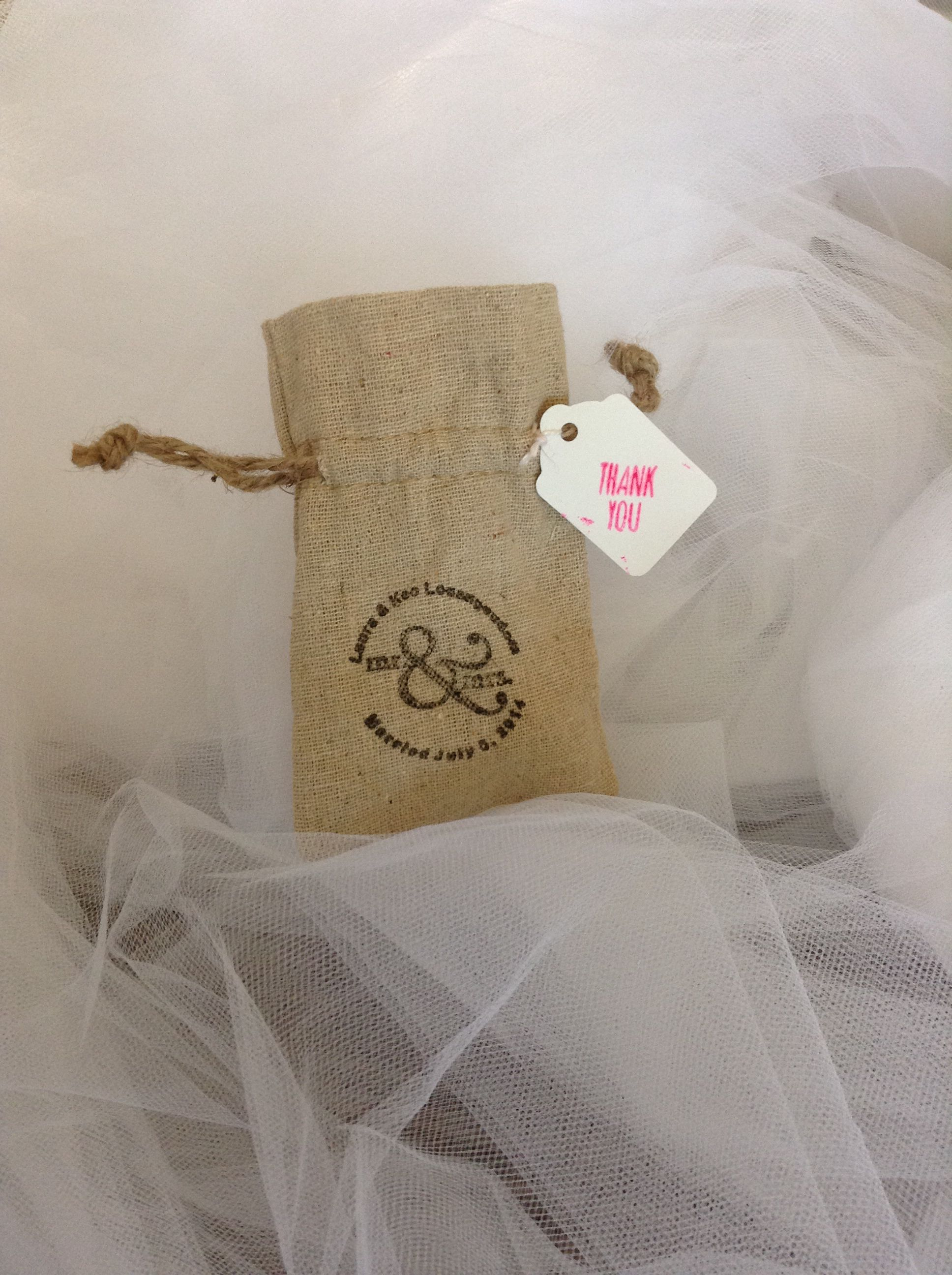 Rustic favor bags burlap linen bags with personalized stamp and