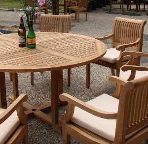 Superior 7 Pc Grade A Teak Wood Round Table Dining Set.