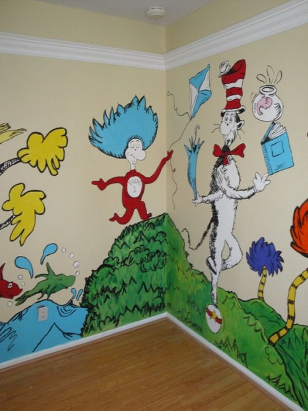 Decorating children cartoon wall murals paintings for for Dr seuss wall mural