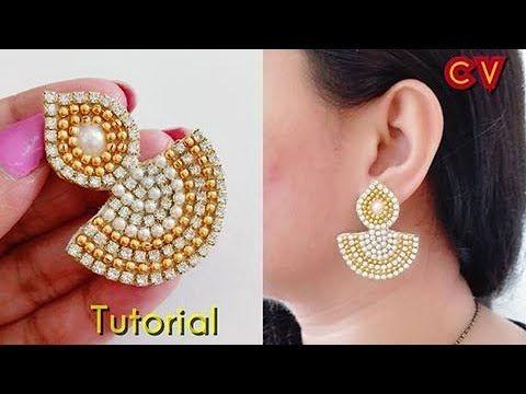 How to make Designer Earrings Paper earrings DIY YouTube