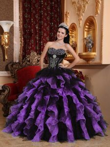82ddf0f3877 Organza Beaded Ruffled Black and Purple Dress for Sweet 15 ...